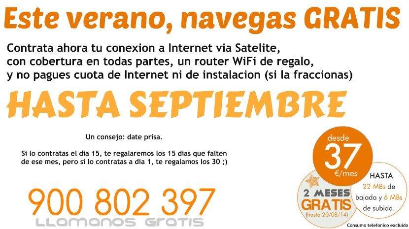 Internet Satelite GRATIS : No pagues cuota mensual hasta Septiembre